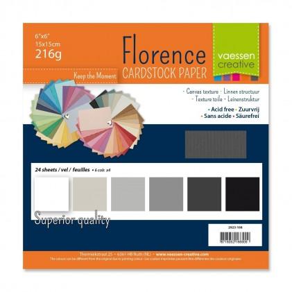 Florence Leinenkarton Multipack 15 x 15 cm 60 Blatt - Schwarz-Weiß