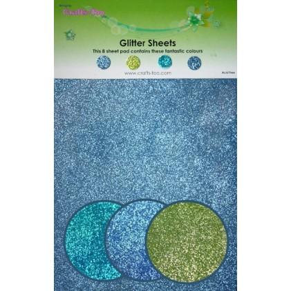 Glitter Cardstock 14 x 22 cm  - Blau-Grün