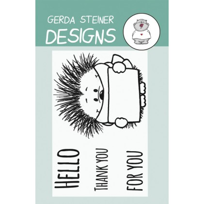 Gerda Steiner Design Clear Stamps - Hedgehog with Sign