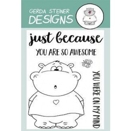 Gerda Steiner Designs Clear Stamps - Hippo with Butterfly