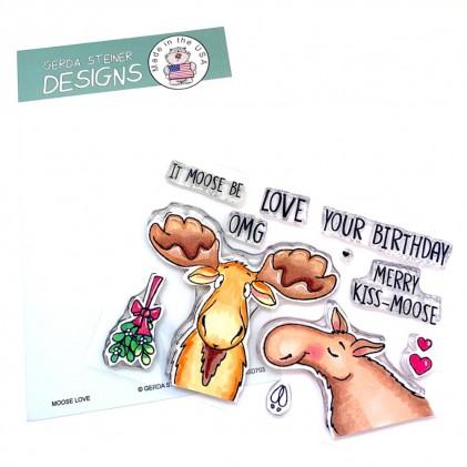 Gerda Steiner Design Clear Stamps - Moose Love 4x6