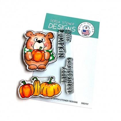 Gerda Steiner Design Clear Stamps - Pumpkin Bear 3x4 - 50% RABATT
