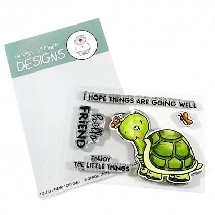 Gerda Steiner Design Clear Stamps - Hello Friend Tortoise 3x4