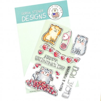 Gerda Steiner Design Clear Stamps - Valentine Cats 4x6