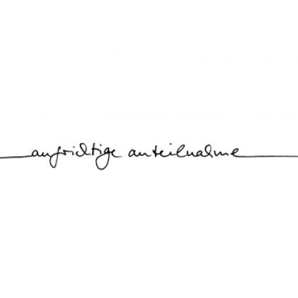 """Karten-Kunst Schriftzug \""""Aufrichtige Anteilnahme\"""" (Anne)"""