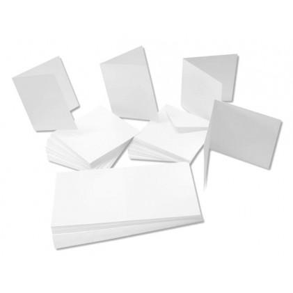 Cardpack 50 Karten und Umschläge weiß - DIN lang