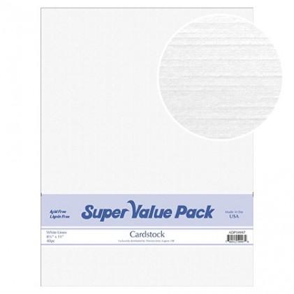 Paper Accents Cardstock Super Value Pack White Linen 40 Blatt