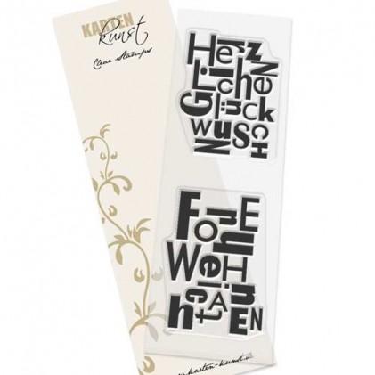 Karten-Kunst Clear Stamp Set - Buchstabenblöcke Glückwunsch Weihnachten