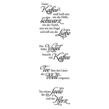 """Karten-Kunst Clear Stamp Set - Weise Worte """"Kaffee und Tee"""""""