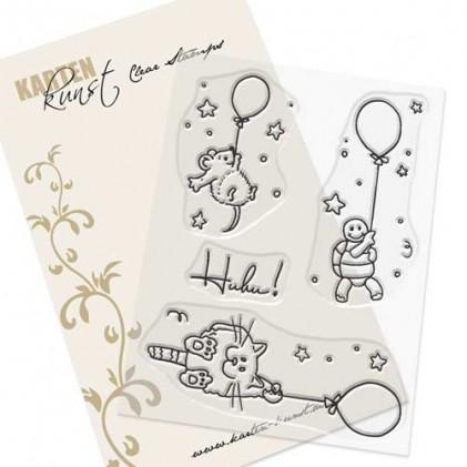 Karten-Kunst Clear Stamp Set - Viecher auf Ballonfahrt