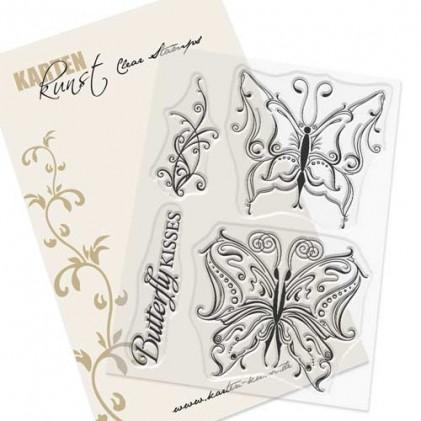 Karten-Kunst Clear Stamp Set - Schnörkel-Schmetterlinge