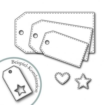 Karten-Kunst Stanzschablone - Tags With Stitches