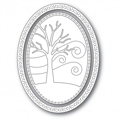 Memory Box Stanzschablone - Winter Tree Oval Frame