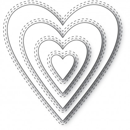 Memory Box Stanzschablone - Double Stitch Happy Heart Cut Out