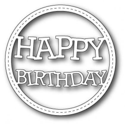 Memory Box Stanzschablone - Stitched Happy Birthday Circle Frame