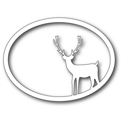 Memory Box Stanzschablone - Standing Deer Oval Frame