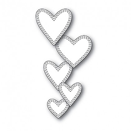 Memory Box Stanzschablone - Double Stitched Hearts