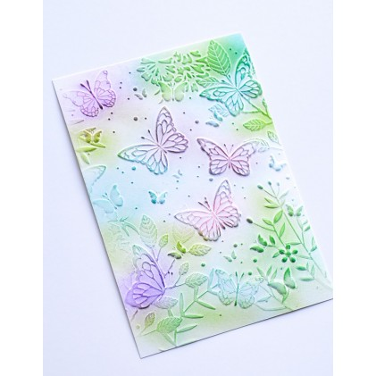 Memory Box 3D Prägeschablone - Butterfly Gathering 3D Embossing Folder