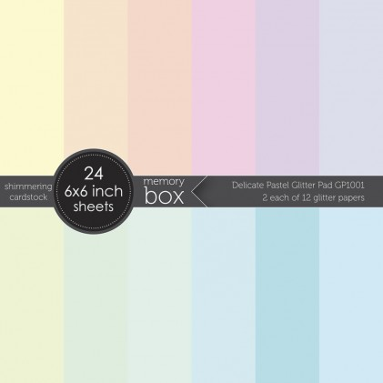 Memory Box Glitter Paper Pack 6 x 6 - Delicate Pastel Glitter Pad