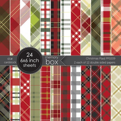 Memory Box Paper Pack 6 x 6 - Christmas Plaid 6x6 pack