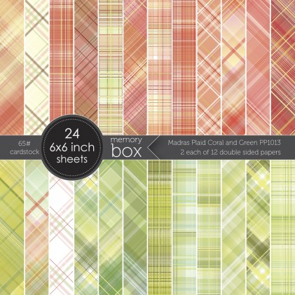 Memory Box Paper Pack 6 x 6 - Madras Plaid Coral and Green