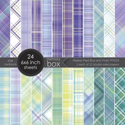 Memory Box Paper Pack 6 x 6 - Madras Plaid Blue and Violet