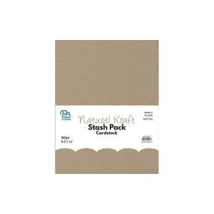 Paper Accents Stash Pack Cardstock 40 Blatt - Natural Kraft