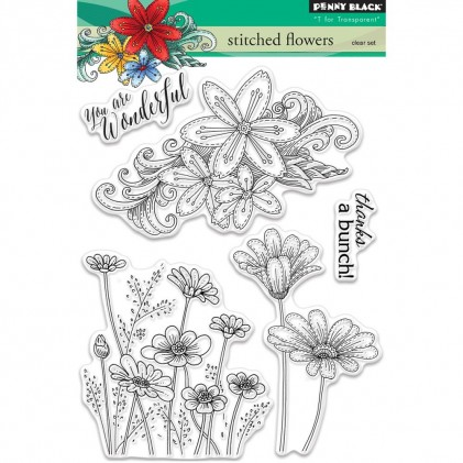 Penny Black Clear Stamps - Stitched Flowers