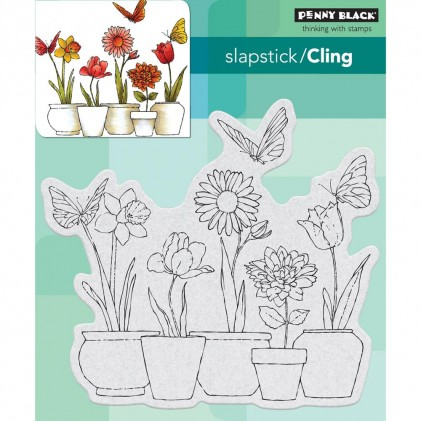 Penny Black Cling Stamps - Potted Flowers