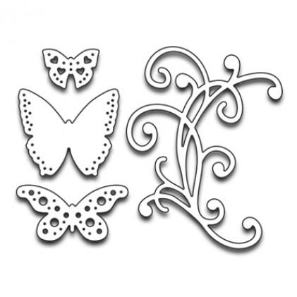 Penny Black Creative Dies Stanzschablone - Flourish & Butterflies