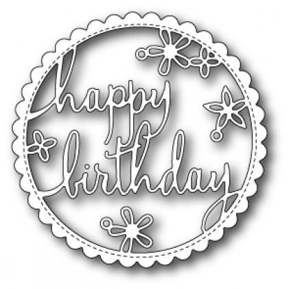 Poppy Stamps Stanzschablone - Happy Birthday Floral Frame