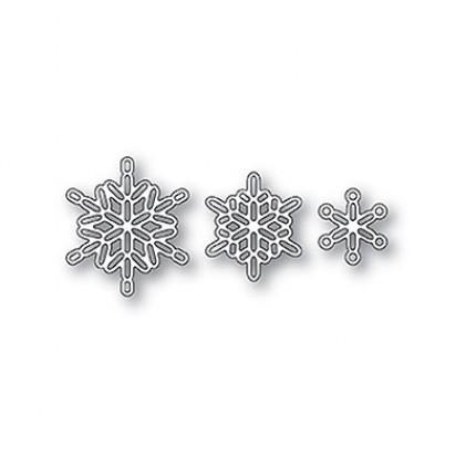 Poppy Stamps Stanzschablone - Linked Snowflake Trio