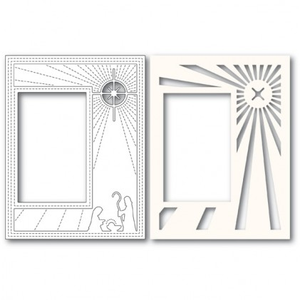 Poppy Stamps Stanzschablone - Nativity Scene Sidekick Frame and Stencil
