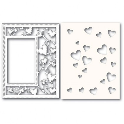 Poppy Stamps Stanzschablone - Ribbon Heart Sidekick Frame and Stencil