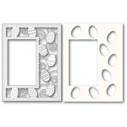 Poppy Stamps Stanzschablone - Decorated Egg Sidekick Frame and Stencil