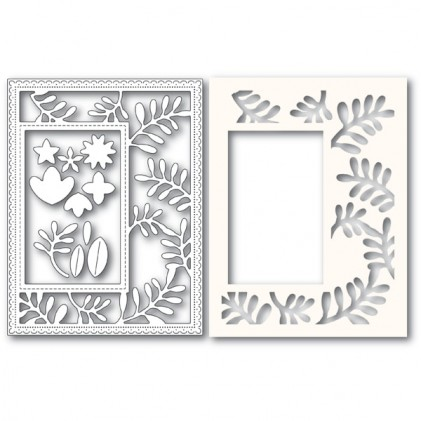 Poppy Stamps Stanzschablone - Fun Floral Sidekick Frame and Stencil