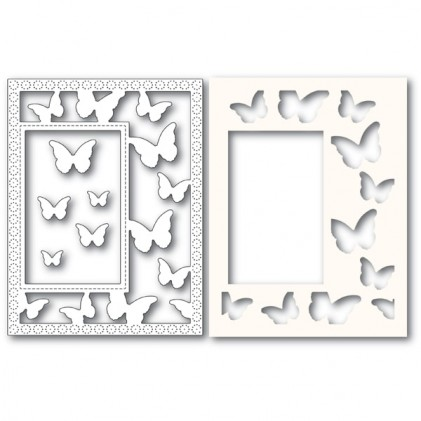 Poppy Stamps Stanzschablone - Beautiful Butterflies Sidekick Frame and Stencil