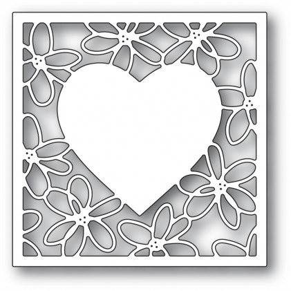 Poppy Stamps Stanzschablone - Scribble Daisy Heart Frame