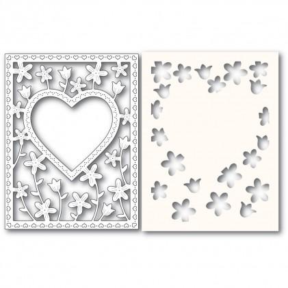 Poppy Stamps Stanzschablone - Meadowblossom Frame and Stencil