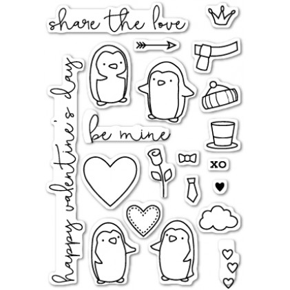Poppy Stamps Stempel - Be Mine Penguins Clear Stamp Set