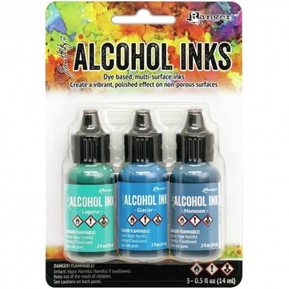Adirondack Alcohol Inks - 3er Set Teal/Blue Spectrum