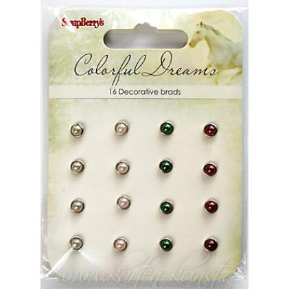Scrapberry's Perlen-Brads - Colorful Dreams Grau, Rosa, Grün & Rot