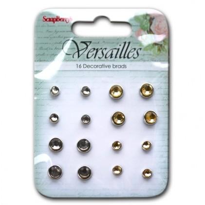 Scrapberrys Strass-Brads - Versailles Grau, Gold