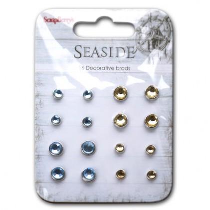 Scrapberrys Strass-Brads - Seaside Hellblau Ocker