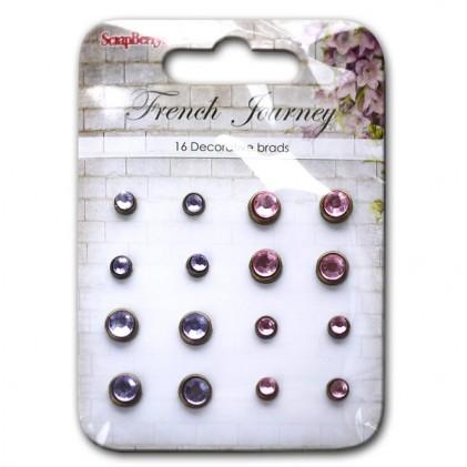 Scrapberrys Strass-Brads - French Journey Lila, Rosa
