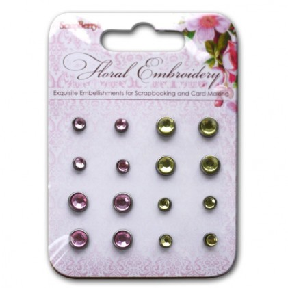 Scrapberrys Strass-Brads - Floral Embroidery Rosa, Grün