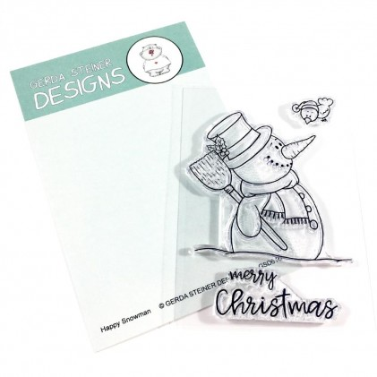 Gerda Steiner Designs Clear Stamps - Happy Snowman with Birdie