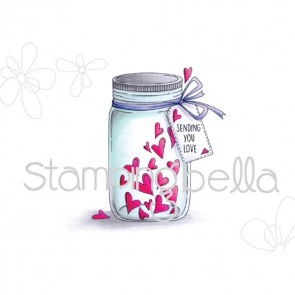 Stamping Bella Cling Stamps - Mason Jar Of Hearts