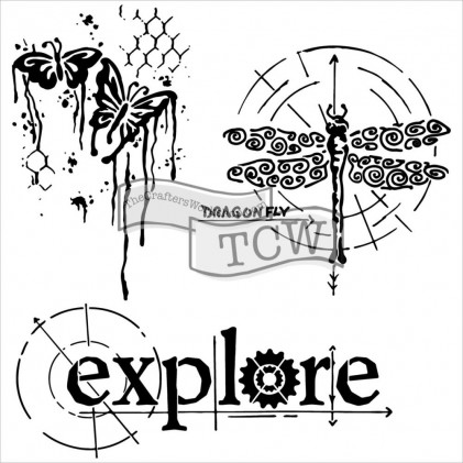 """Crafter's Workshop Template 6""""X6"""" - Winged Exploration"""