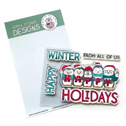 Gerda Steiner Design Clear Stamps - Happy Holiday Penguin 4x6